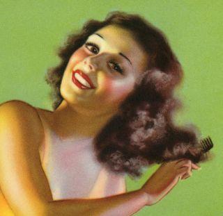 Vintage Earl Moran 1940s Pin Up Print Brunette Bathing Beauty Beach