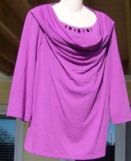 New SAG Harbor Woman Plus Size 1X Purple Jewel Top Shirt Cowl Neck