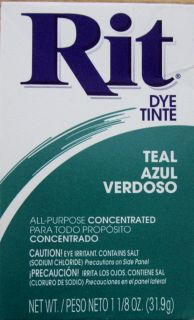 Rit Dye Teal 1 Box 1 1 8 oz 31 9 g Several Colors Boxes Avail NEW FREE