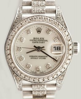 Ladies White Gold Rolex Oyster Perpetual Watch with Pink Roman Dial