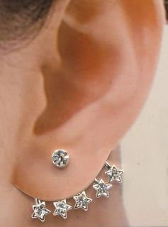 1pair 2pcs of Earring Cuff Crystal Stud Wraps Earrings Pins