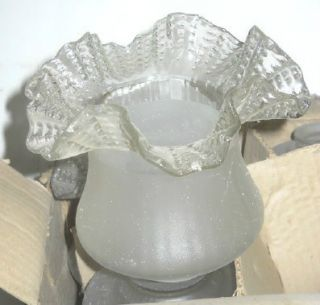 8 VIANNE FLUTED FROSTED HAND MADE GLASS LAMP SHADES NOS