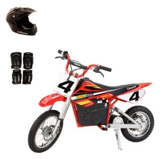 razor mx500 dirt rocket electric bike motorcycle with helmet elbow