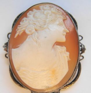 Victorian Shell Cut Cameo Brooch Pin Sterling Silver