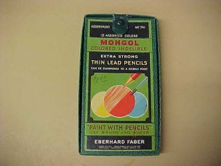 Vintage Eberhard Faber Mongol Colored Pencil Set 12 Pencils w Box Nice