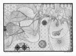 Sun Moon Her Belly Original Surreal Drawing KW Eccles