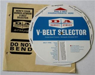 Durkee Atwood Company V Belt Selector Dial Drive Design Slide Rule