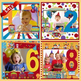 BIRTHDAY Digital Photo Frame Templates Photobook Girl Boy Party