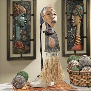 African Tribal Elders Exotic Mask Sculpture
