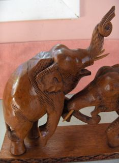 Hand Carved Wood Rosewood Elephants Combat Sculpture Statue Figurine