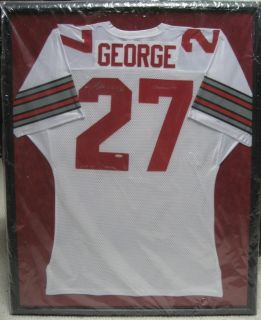 Eddie George autographed framed Ohio State Jersey 11 27 Oilers Titans