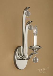 Electric Wall Sconce 60 Watt Light Art Deco Style Nickel Metal Glass