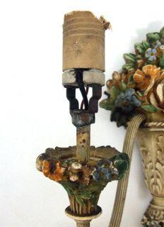Nouveau Plaster Paris Wall Sconce Electric Candle Flower Light Lamp