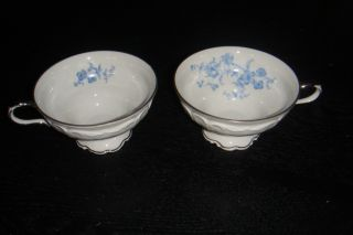 Tea Cups Edelstein Bavaria Ocean Blue German Porcelain