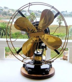 Antique Colonial Motor Electric Fan 5 Tab 12 Restored Brass Blades