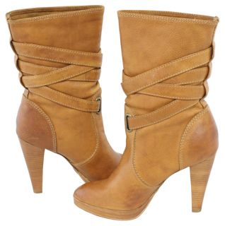 Frye Harlow Multi Strap Leather Heels Pull on Tan Boots 10 New