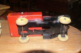 Antique Wyandotte Red Stake Truck Toy Wood Wheels Near Mint