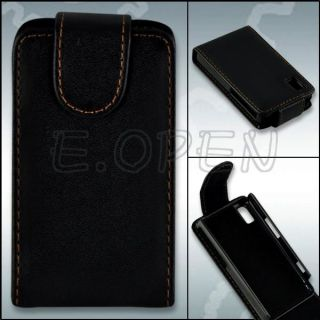 Black Leather Case Cover Pouch for Samsung Tocco F480