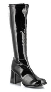 Ellie Black Patent GoGo Boots Sz 7 Costume 60s 70s 80s Disco Retro