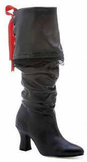 Ellie Shoes Knee High Black Renaissance Pirate Boot Red Lace 253