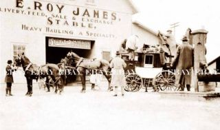 Stagecoach Stage Coach E Roy James Livery Stable Studebaker Wagon
