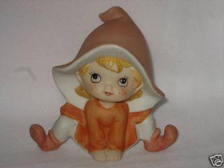 Homco Elf Fairy Gnome Big Hat Pointed Ears 5213 Peach