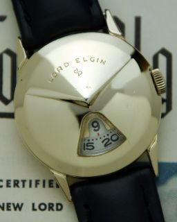 Gold Filled 1957 Chevron Lord Elgin Direct Read Jump Hour Watch