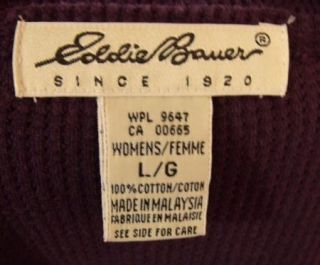 Eddie Bauer Dark Purple Stretch Cotton Thermal Long Sleeve Maxi Dress