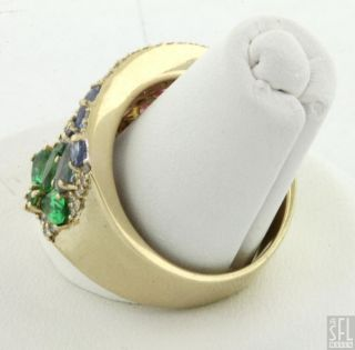 Effy 14k Gold 3 80ctw Diamond Rainbow Sapphire Flower Cocktail Ring