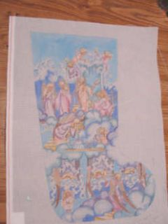 Edie Ginger Angels Heaven Hand Painted Needlepoint Canvas Stocking