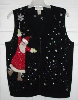 Flying Santa Bling Ugly Christmas Sweater Vest Plus 2X 2XL Susan