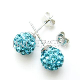 6mm Disco Ball Earring Swarovski Crystal Ball Earring Stud 10 Color