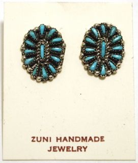 Turquoise Needlepoint Sterling Silver Post Earrings   Shirley Hattie