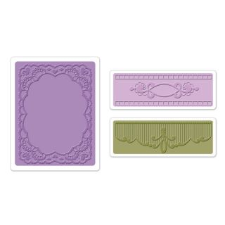Sizzix Textured Impressions Embossing Folders 3pk Oval Lace Set 657761