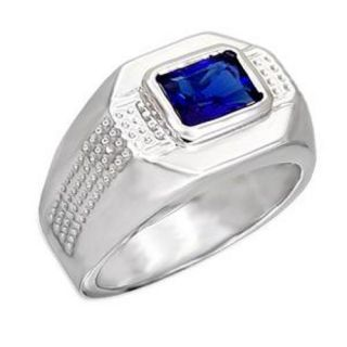 25ct Emerald Cut Simulated Sapphire CZ Mens Fashion Ring Size 9 10