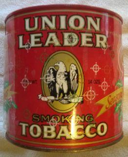 Vintage Antique Union Leader Smoking Tobacco Tin 14 Oz
