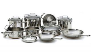 EMERILWARE ALL CLAD 14 PC STAINLESS STEEL COPPER COOKWARE SET BONUS