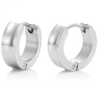 Sparkling 316L Stainless Steel Silver Hoop Earrings for Men Jewelry