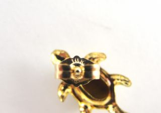 14k Yellow Gold Earrings Turtle Design Tiger Eye Post and Clutch Stud