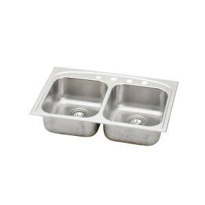 universal mount stainless steel 33x22x8 4 hole double bowl kitchen