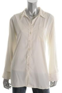 Ellen Tracy New Favorite Ivory Adjustable Sleeve Jersey Button Down