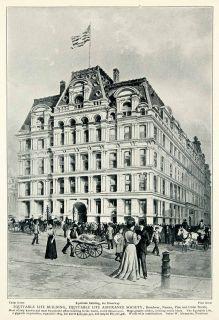 1903 Print Equitable Life Assurance Cedar Pine Street Scene Historical