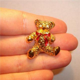 Signed Teddy Bear Pendant Slide Pin Brooch Crystal Christmas