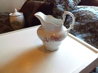 Vintage Edwin M. Knowles Semi Vitreous China Pitcher Floral Decor 6