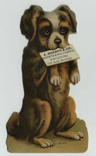 1800s Cute Die Cut Dog Puppy Adv Trade Card Roesch Wallpaper St Louis