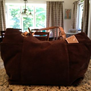 Michael Kors Brown Leather Jet Set HandBag Satchel Bag Tote Purse New