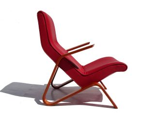 early original eero saarinen red leather grasshopper chair by knoll