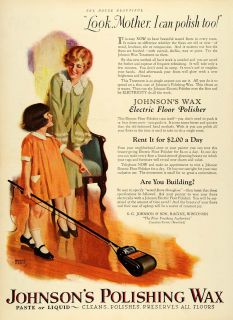 1926 Ad Electric Floor Polisher Mother Child Johnsons Polishing Wax w