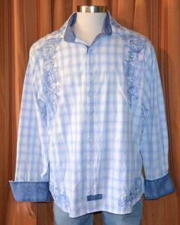 English Laundry Christopher Wicks LONG SLEEVE BLUE COTTON PLAID SHIRT
