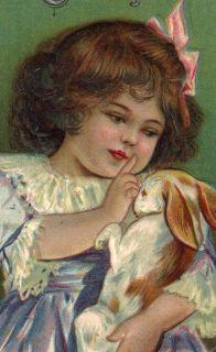 1914 Easter Postcard Antique Victorian Little Girl Pets Rabbit Nest of